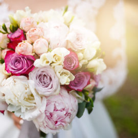 wedding bouquet with peony Wedding bouquet, peonies, roses, in hands